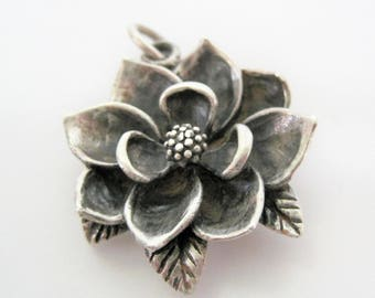 Sterling Silver Flower Pendant  - Signed 925 - 3D Flower - Jewelry Making