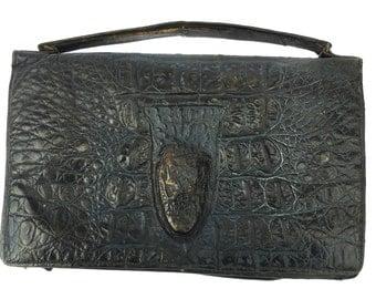 1920s Alligater Handbag Vintage Crocodile Handbag Made in England Crodile Skin Bag Alligator Skin Purse Real Skin Bag