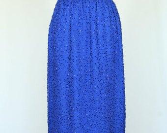 20% OFF SALE Vintage Skirt, Beaded Skirt, Blue Skirt, Christmas Party Skirt, Holiday Party Dress