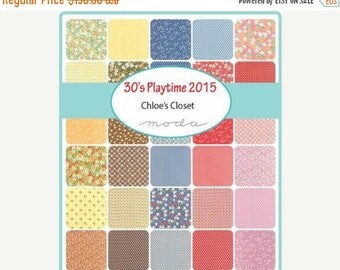20% Off Sale 30's Playtime 2015 by Chloe's Closet for Moda - One Fat Quarter Bundle 40 skus - 33040AB