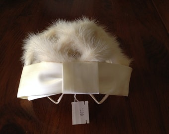Mink Wedding Cap Hat  Off White Cream with Satin Ribbon   Veil   Circa 1940-50's