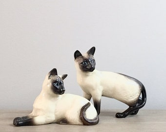 Vintage Beswick Cat Figurine Statue Pair English Siamese Chocolate Point Porcelain Cats