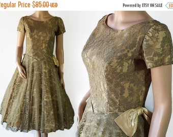 40%OFFSALE 50s 60s Green Lace Dress, Prom, Wedding, Petticoat, Circle Skirt, Tulle,  Mad Men