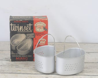 Vintage Mirro Matic Pressure Pan Cooker Twin Set Aluminum Baskets Original Box Instant Pot