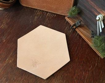 Set of 4 Hexagon Leather Coasters