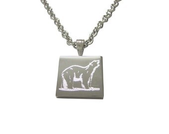 Silver Toned Etched Polar Bear Pendant Necklace