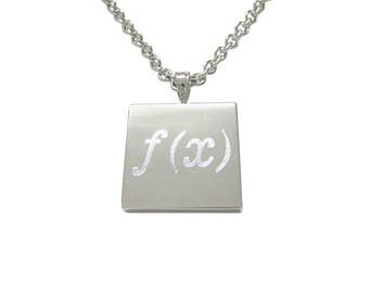 Silver Toned Etched Mathematical Function of X Pendant Necklace