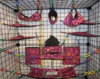 17  Pc  -  Black Hearts on Pink - Sugar Glider Cage Set