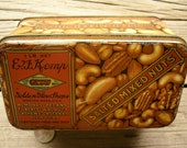 Vintage E F Kemp Salted Mixed Nuts Tin - 1920's Collectible Nut Box Golden Glow Shops Boston Massachusetts - Advertising Tin Litho
