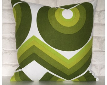 "Cushion Cover Vintage 60s 70s Green Graphic Fabric 16"" x 16"" Retro Throw Pillow"