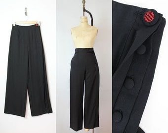 vintage high waist black pants / 1980s does 40s pants / high waisted wool trousers / asian motif trousers / pleated pants