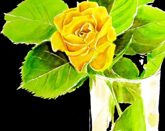 Yellow Rose Original Watercolor Painting, Rose Watercolor, Watercolor Rose, Rose Original Art, Rose Art, Painting of Yellow Rose in Vase