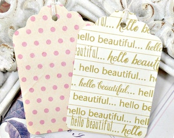 Hello Beautiful Gift Tags (24) Blush and Gold Tags-Pink and Gold Party Favor Tags-Boutique Tags-One Party-It's a Girl-Baby Girl Gift Tags