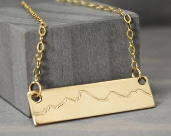 Gold Fill Tetons Necklace, Mountain Necklace, Jackson Hole Necklace, Mountain Range, Mountain Jewelry, Rustic Jewelry, Jackson Jewelry
