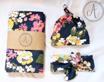 Navy Mustard and Pink Floral Swaddle Blanket, Headband and Hat Set, Baby Blanket, Nursing Cover