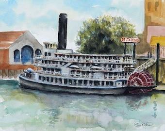 Delta King - steam boat original watercolor