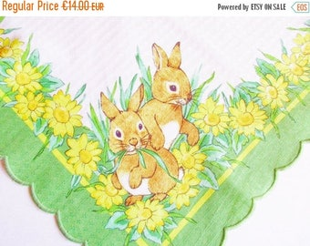 SPRING SALE - Cute Vintage Easter Spring Tablecloth with Printed Bunnies and Flowers, Green Embroidery Bow Trim