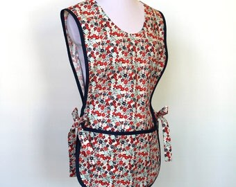 Floral Cotton Cobbler Smock Apron - Fabric Design by Buttercream - Two Pockets