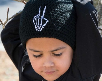 Skeleton Hand Peace Sign Beanie - Goth Hat - Alternative Clothing - Rock Clothing - Funny Skeleton - Goth Gift