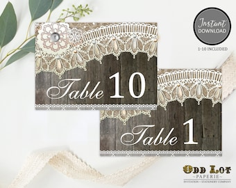 Printable Table Numbers, Rustic Wedding, Wedding Reception Table Numbers, 1-10, Digital Printable, Instant Download, DIY  ~Wood Lace