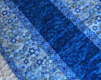 Hanukkah Judaica Table Runner Quilt, Blue, Contemporary, Modern Channukah, Passover