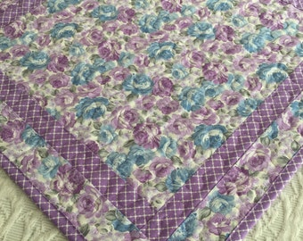 Shabby Chic Lavender Table Topper Quilt, Lavender, White, Spring Table Topper Quilt, Handmade Table Runner Quilt