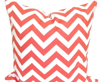 CORAL PILLOW.18X18 inch.Pillow Cover. Decorative Pillows.Chevron Pillow Cover.Housewares.Coral Throw Pillow.Coral ZigZag.cm.Chevron.Cushion