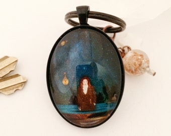 Empowerment Picture Keychain Charm Dreamy Goddess Miniature Art As Above So Below Dark Pool Vintage Swirling Copper Glass MOP Star Charm
