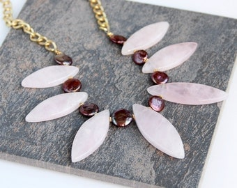 Rose Quartz Necklace with Coin Pearls - Pink, Plum, Gold Chain, Chunky, Pearl Necklace