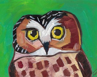 little owl on Green Origiinal oil Painting