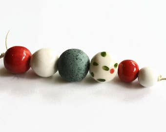 Red beads, red, green and white beads, artisan beads, Beads, ceramic beads, African beads, handmade African beads, 6 ceramic beads
