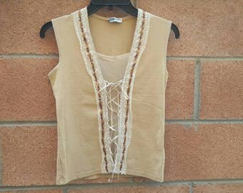 Sandstone top with lace/nude detail size small