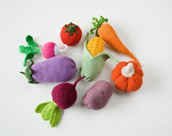 Knitted Veggies, Set of 8 - play food, pretend play - FrejaToys