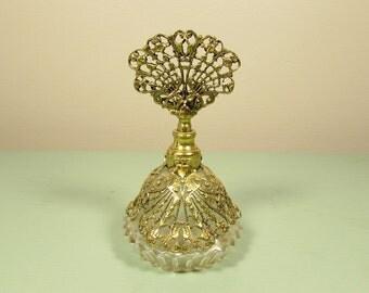 Brass Filigree Perfume Bottle - Vintage Glass Dabber Vanity Accessory