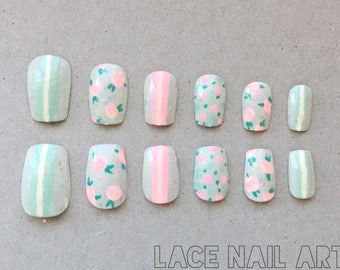 Vintage Mint Green and Pink Roses and Stripes - Handpainted Press On False Nails
