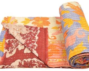 Vintage Kantha Quilt Gudri Reversible Throw Ralli Bedspread Bedding India OG932