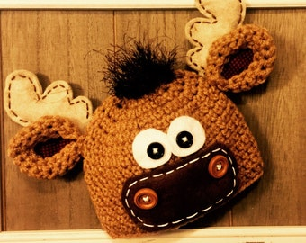 Mr.Moose crochet hat, photo prop