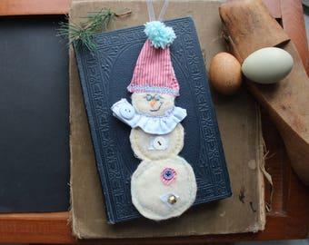 Snowman Fabric Handmade Ornament
