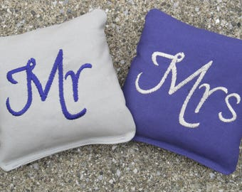 Wedding Mr and Mrs Cornhole Game Bags - Mr & Mrs - Set of 8 Shown in Grey and Purple
