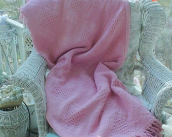 Pink Throw Fringed Lap Blanket Baby Blanket Bedspread, Romantic, Prairie, French Country Shabby Chic,