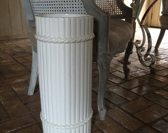 Vintage White Porcelain Umbrella Stand