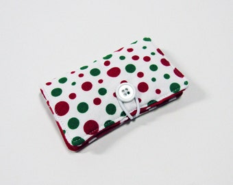 Christmas Red Green Polka Dot Fabric Business Card Holder, with White Dots on Red - Credit Card Holder, Cloth Card Holder, Gift Card Holder