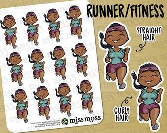 Brown Skin Running Fitness Exercise Gym Planner Stickers, African American Black - Erin Condren, Happy Planner, Kikki K, Filofax, Decorative