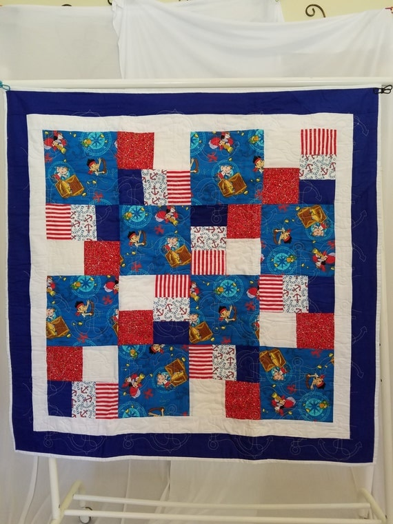 Kids disney jake and the neverland pirates quilt for Jake quilted bedding