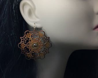 Filigree Earrings Autumn Earrings Patina Earrings Big Filigree Earrings Crystal Patina Earrings Bohemian Earrings Boho Earrings