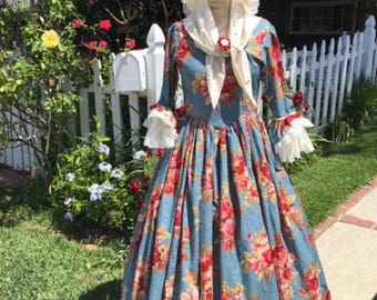 DAR GOWN revolutionary war colonial women dress  1776 made to your measurements choice of print & color XLG