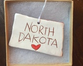 North Dakota Christmas Ornament