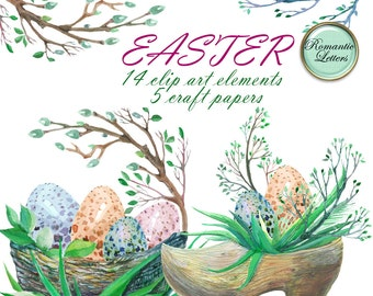 Easter digital scrapbook clip art Easter watercolor clip art Easter watercolor clip art Easter egg clipart Easter watercolor clipart spring
