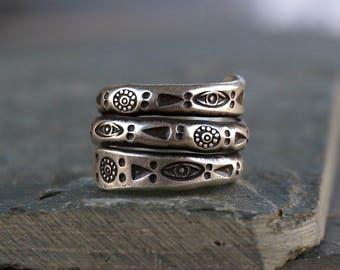 Niran Sterling Silver Ring Band Unique Ring Boho Jewelry