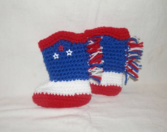 USA Red, White, & Blue Baby Cowboy Boots Booties Country Western Assorted Sizes Handmade Crochet